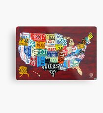 License Plate Map of The United States 2011 Metal Print