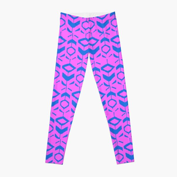 Blue flower pattern with pink background Leggings