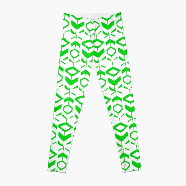 Green flower pattern with white background Leggings