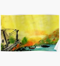 Misty morning for a day on lake, watercolor Poster