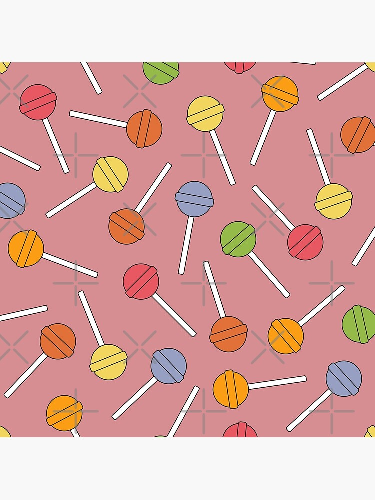 Happy Lollipops Sugar Candy - Red Background by PrintablesP