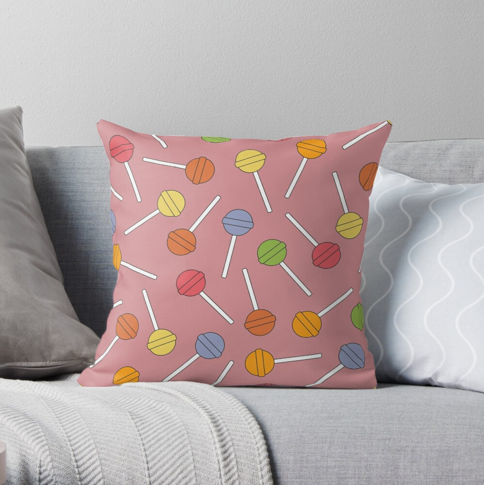 Happy Lollipops Sugar Candy - Red Background Throw Pillow