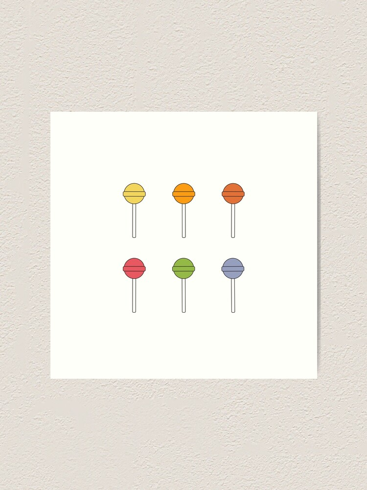 Alternate view of Happy Lollipops Sugar Candy - Red Background Art Print