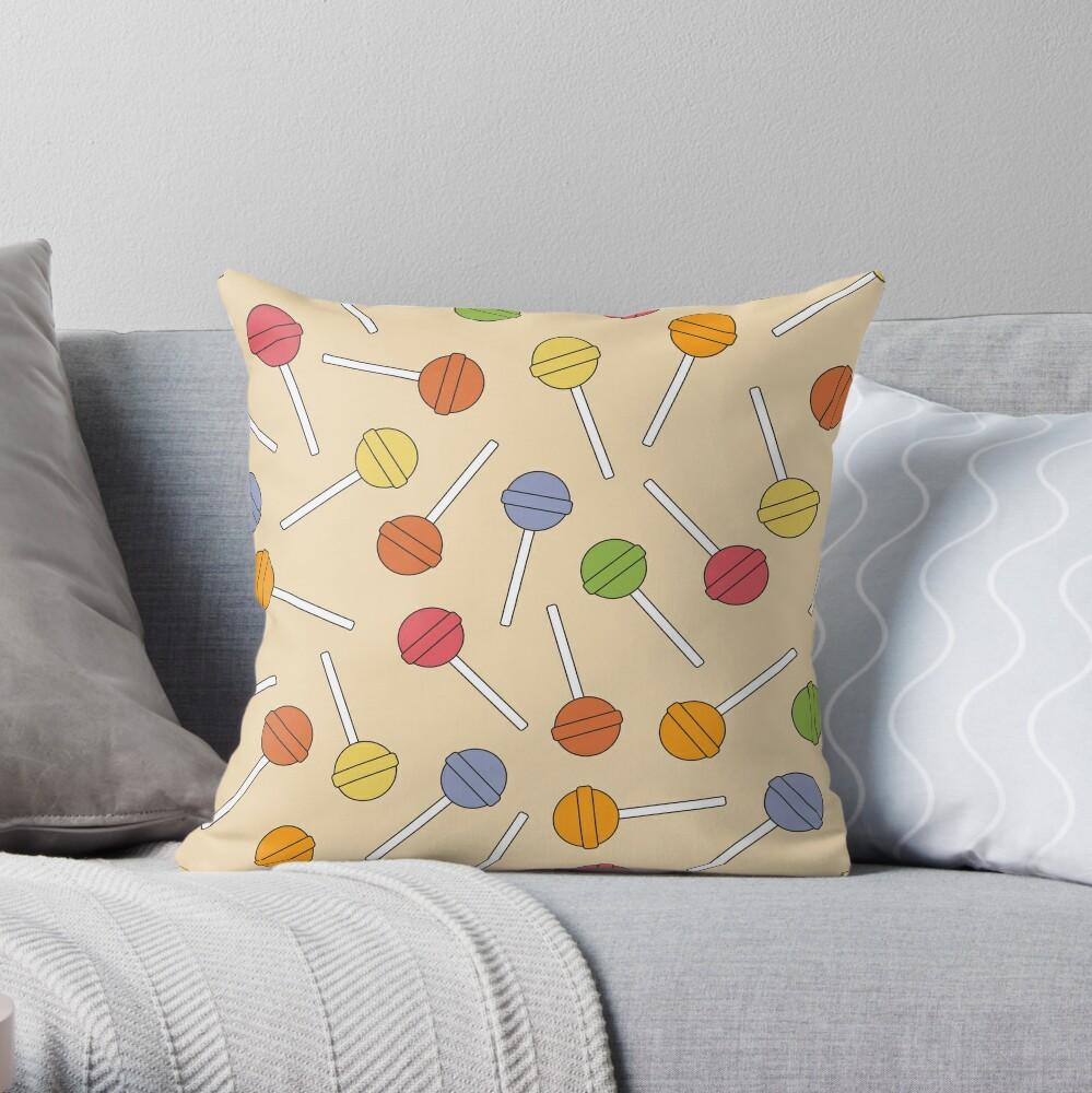 Happy Lollipop Sugar Candy Throw Pillow
