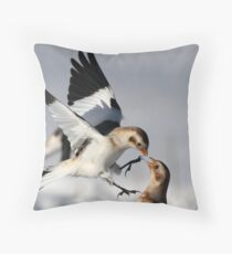 Touch / Snow Buntings Throw Pillow