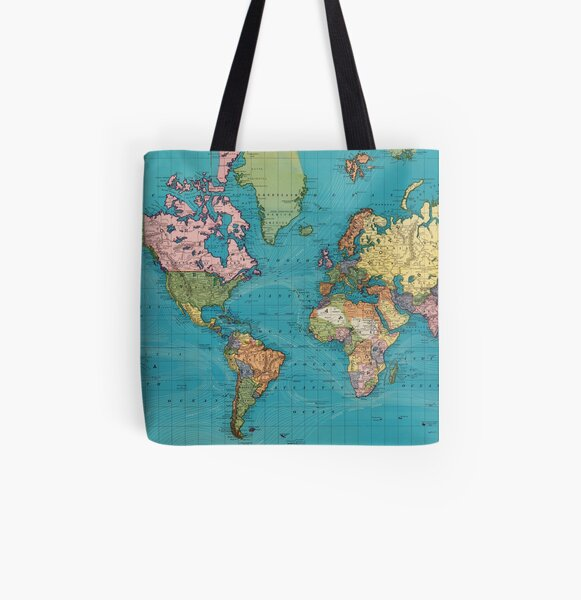 Vintage Map of The World (1897) All Over Print Tote Bag