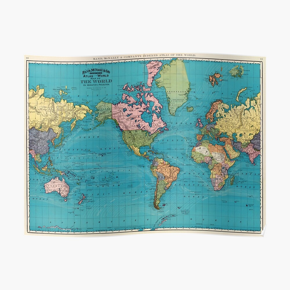 Vintage Map of The World (1897) Poster
