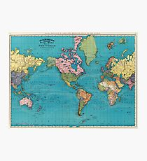 Vintage Map of The World (1897) Photographic Print