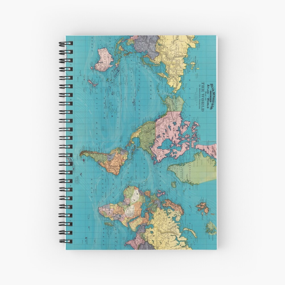 Vintage Map of The World (1897) Spiral Notebook