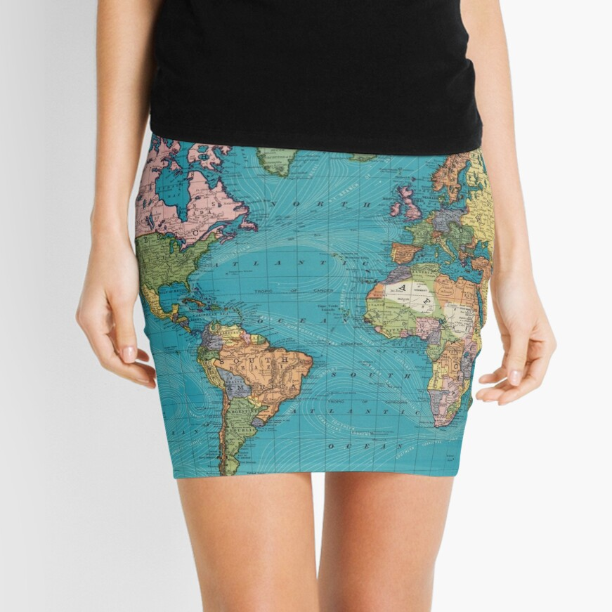 Vintage Map of The World (1897) Mini Skirt