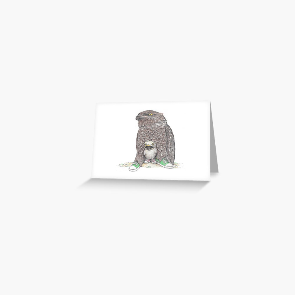 frog mouthed owl and baby in low tops Greeting Card