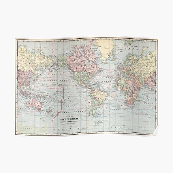 Vintage World Map (1901) Poster