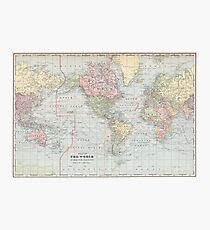 Vintage World Map (1901) Photographic Print
