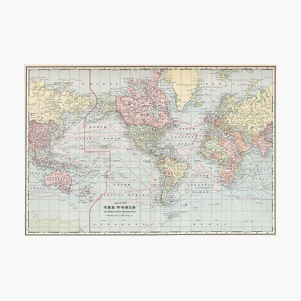 Mapa del mundo de la vendimia (1901) Lámina fotográfica