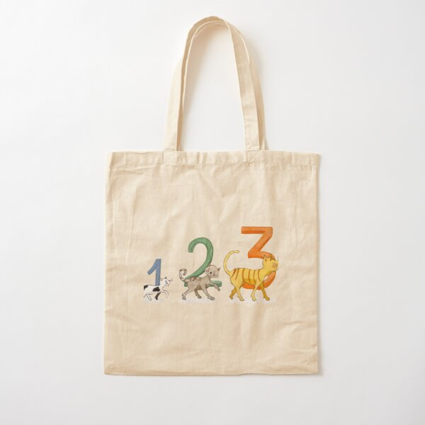 1, 2, 3 cats Cotton Tote Bag