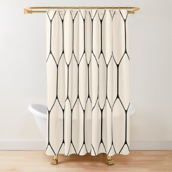 Long Honeycomb Minimalist Geometric Pattern in Black and Almond Cream Shower Curtain
