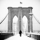 Man on Brooklyn Bridge by Randy  LeMoine