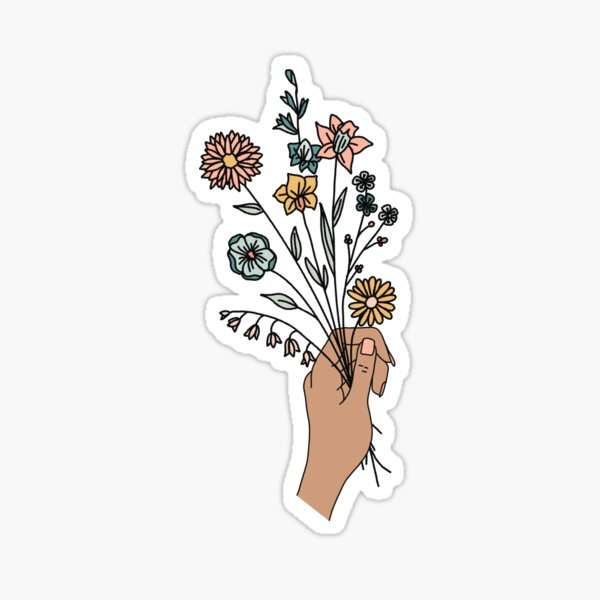 hand holding floral bouquet  Sticker