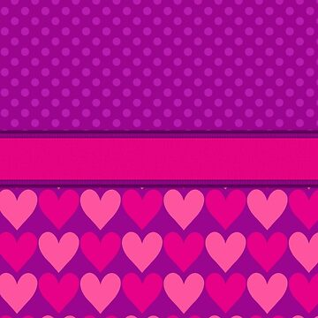 Purple and Pink Mod Hearts with Polka Dots  by runninragged