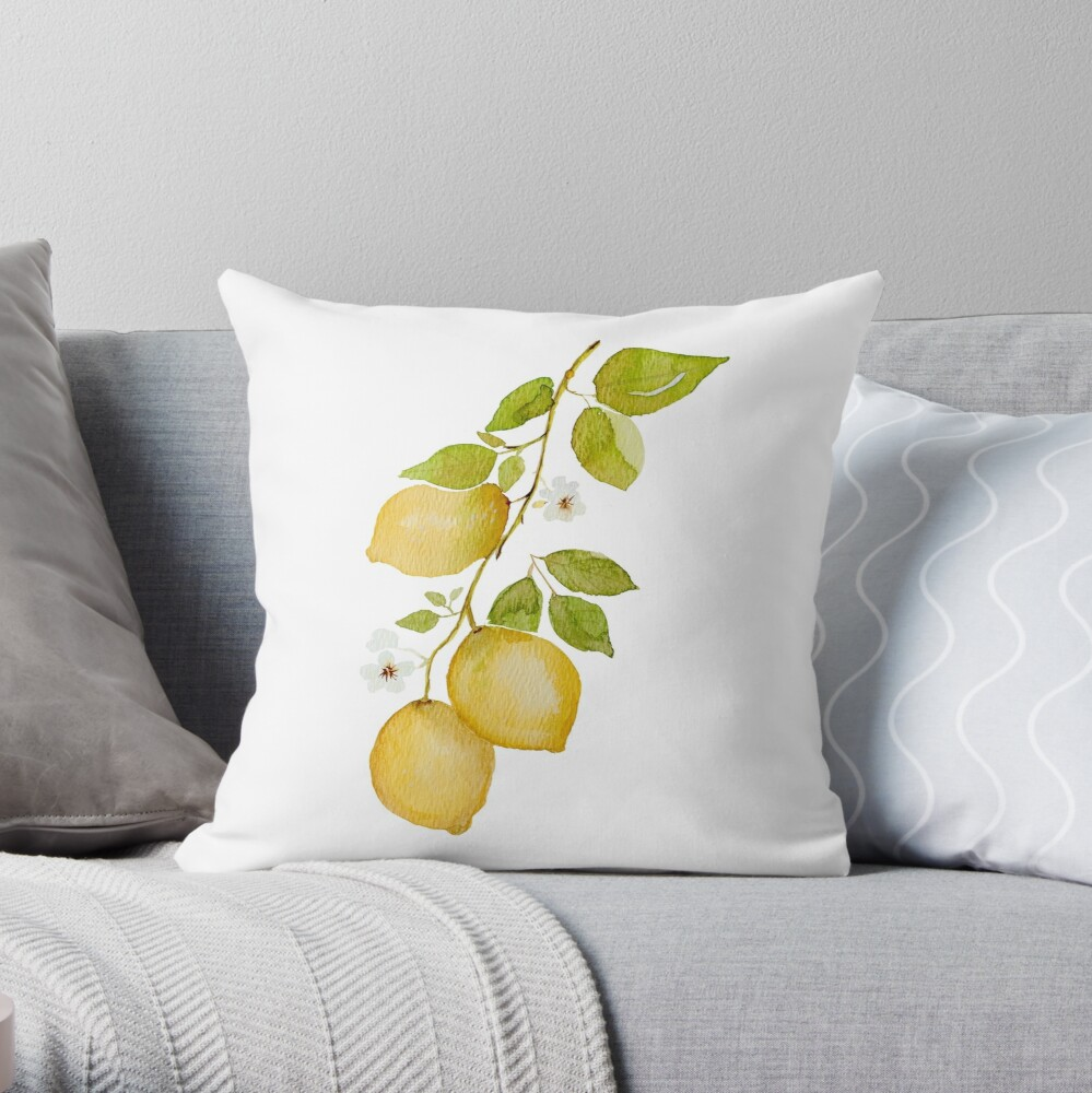 lemon branch watercolor Throw Pillow