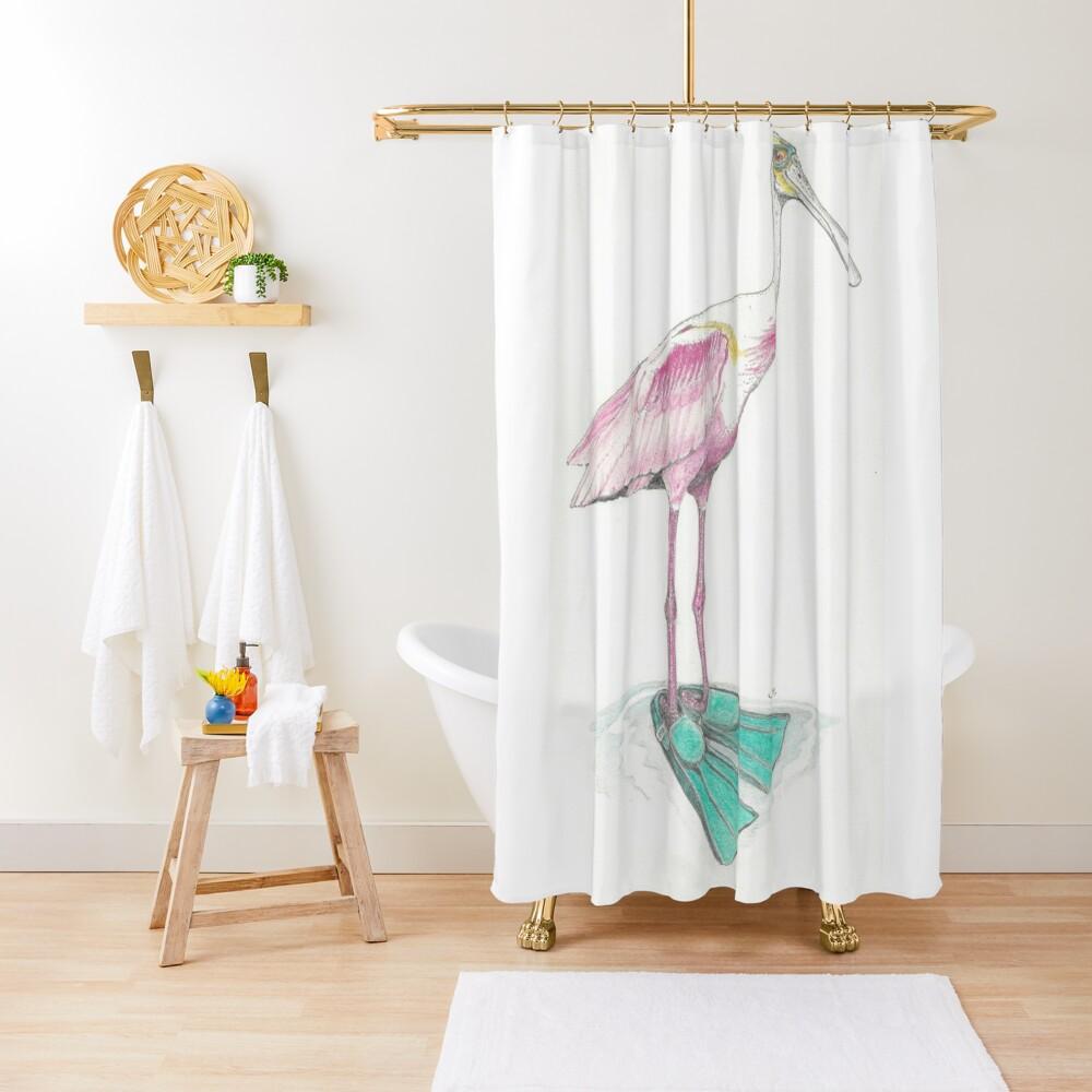 spoonbill in swim fins Shower Curtain