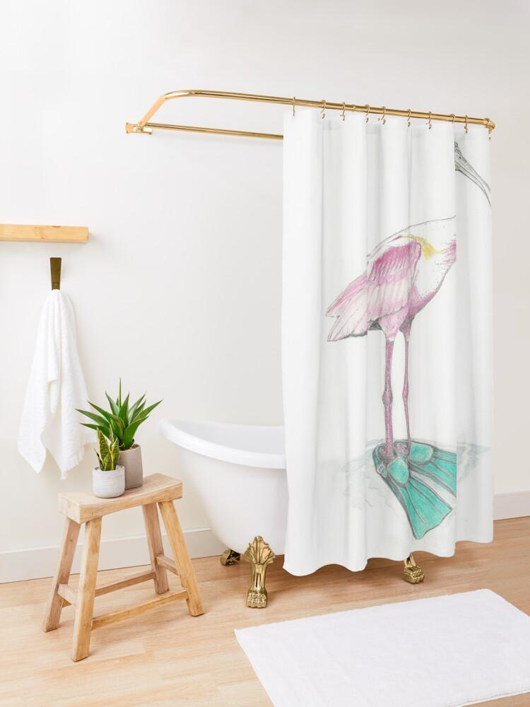 Alternate view of spoonbill in swim fins Shower Curtain