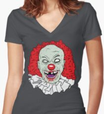 Zombie clown Women's Fitted V-Neck T-Shirt