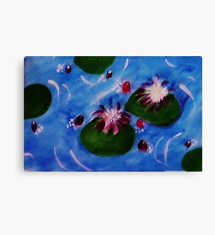 Lilly pads, watercolor Canvas Print