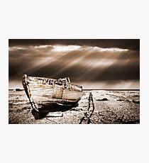 fishing boat graveyard toned Photographic Print