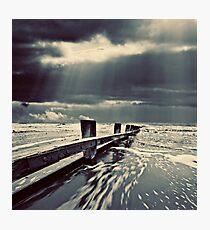 stout wooden sea defenses Photographic Print