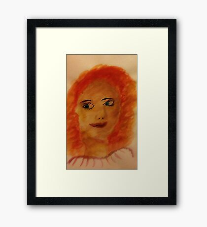 Portrait of myself as a child, watercolor Framed Print