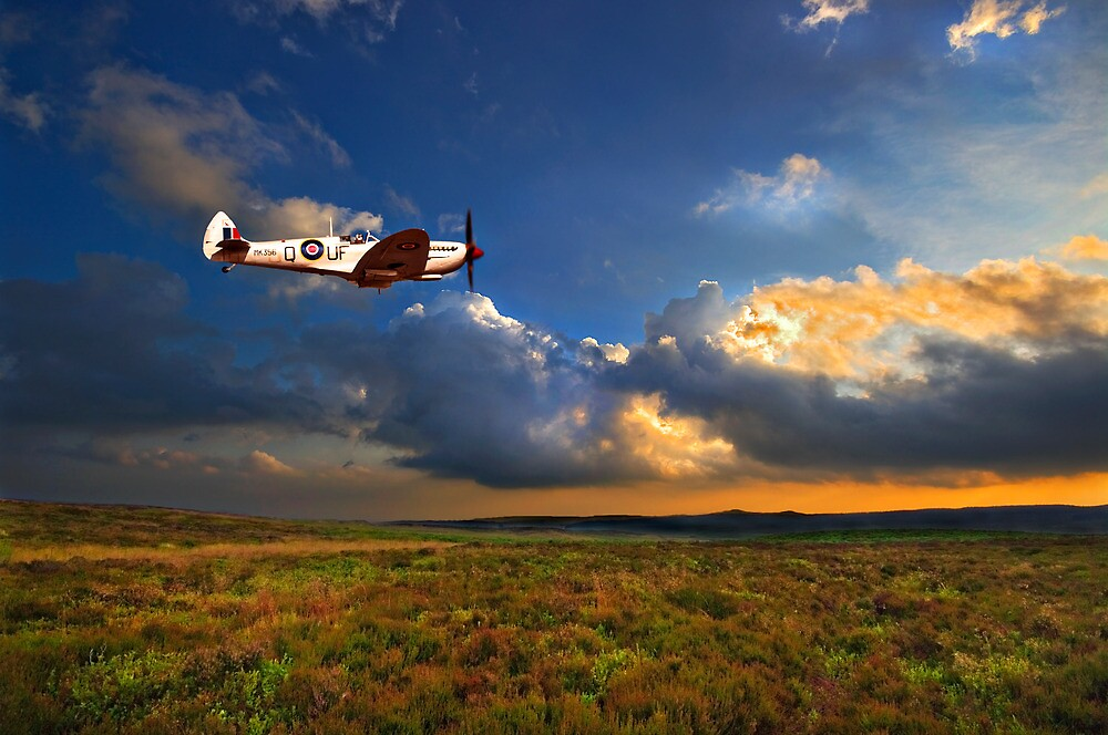 low flying evening spitfire by meirionmatthias
