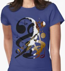 Jazz Note Blue Womens Fitted T-Shirt