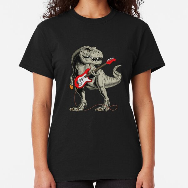 Dinosaur playing electric guitar Classic T-Shirt