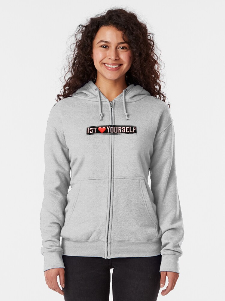 Alternate view of First Love Yourself Zipped Hoodie