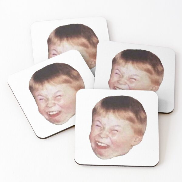 Little Kid Redhead Fat Laughing Mocking Funny Meme Face Coasters (Set of 4)