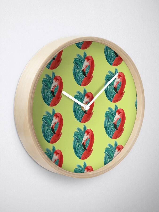 Alternate view of Tropical Flamingoo  Clock