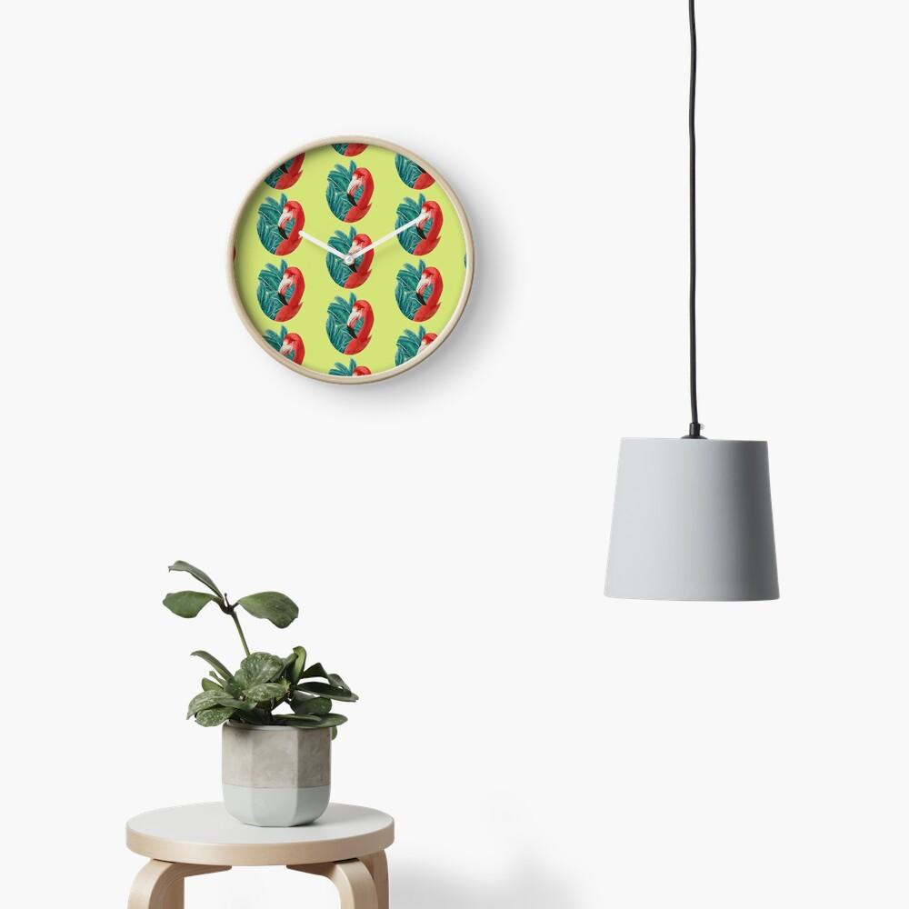 Tropical Flamingoo  Clock
