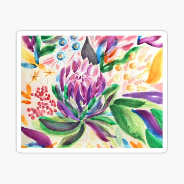 Mum's Vibrant Watercolour Bouquet Sticker