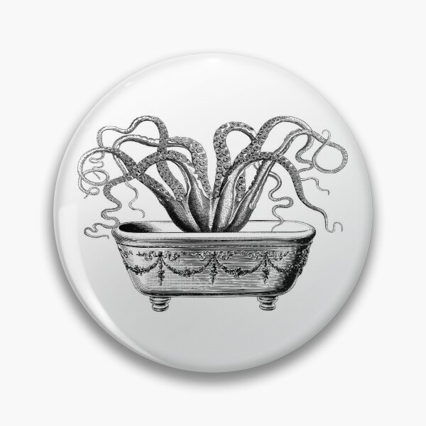 Tentacles in the Tub | Octopus in Bathtub | Vintage Octopus | Black and White |  Pin
