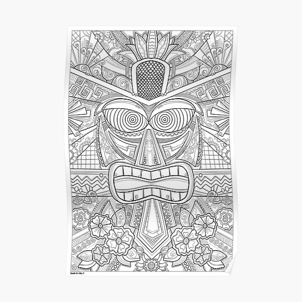 Tiki Coloring Art - Doodle Art Alley  Poster