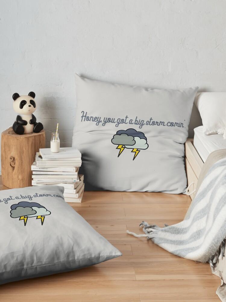 Alternate view of Honey, you got a big storm comin' - Vine Design Floor Pillow
