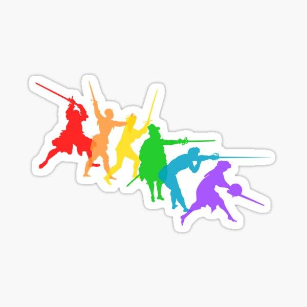 A Spectrum of Swordy Silhouettes Sticker