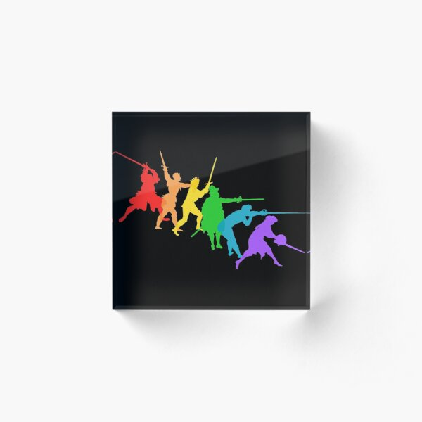 A Spectrum of Swordy Silhouettes Acrylic Block