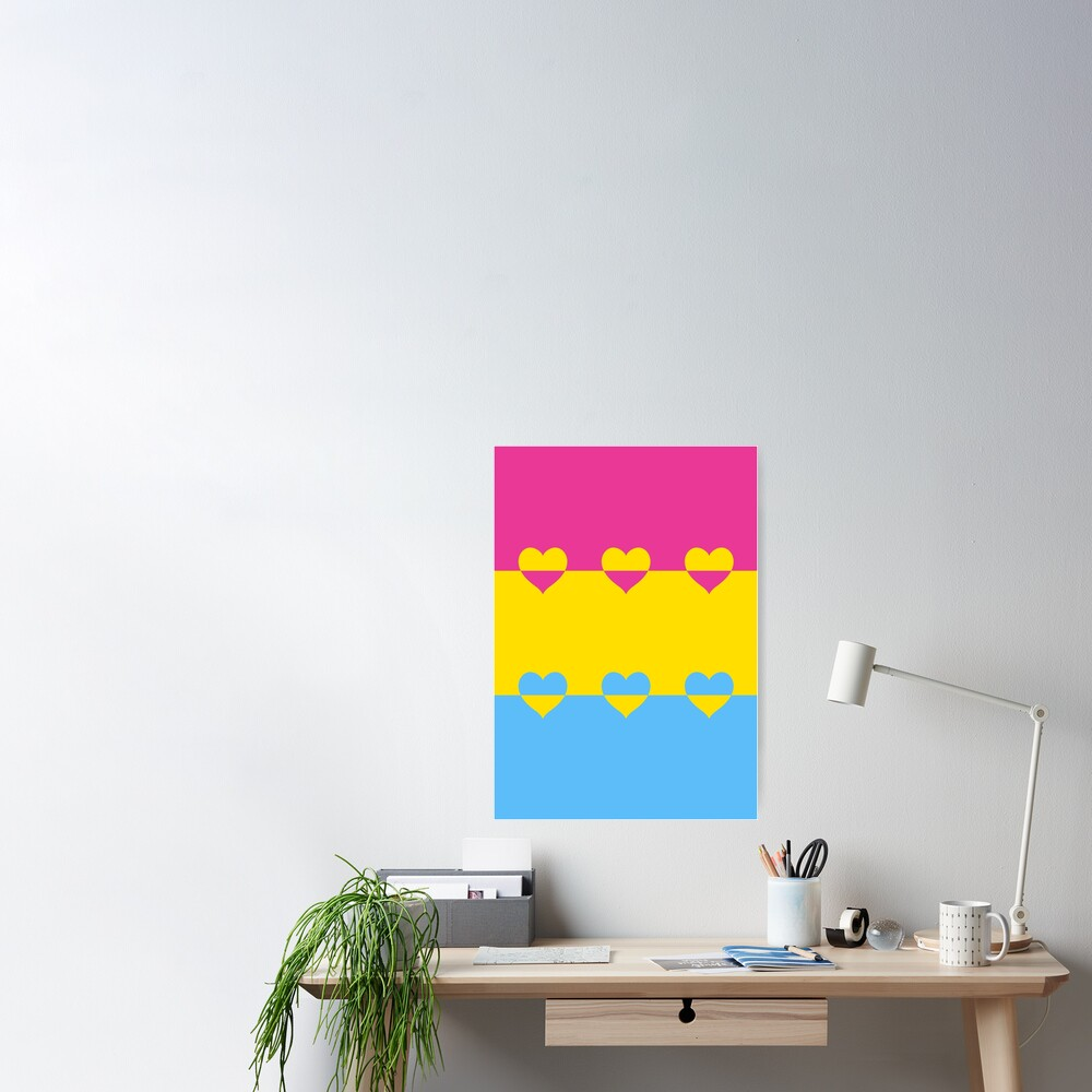 LGBTQ Flag with Hearts v1 - Pansexual Poster