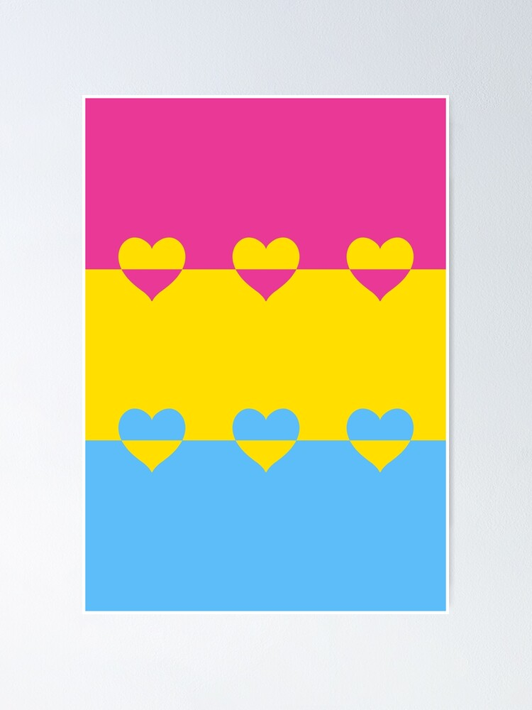 Alternate view of LGBTQ Flag with Hearts v1 - Pansexual Poster