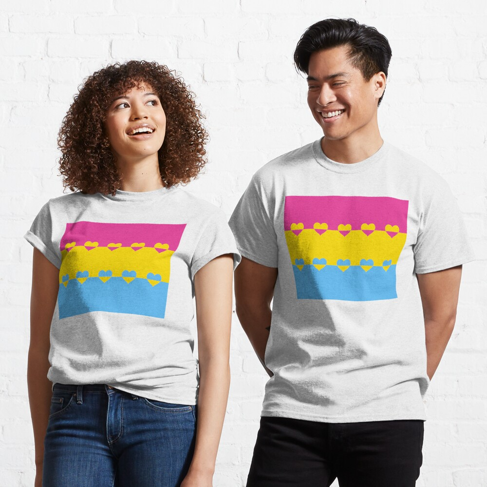 LGBTQ Flag with Hearts v1 - Pansexual Classic T-Shirt
