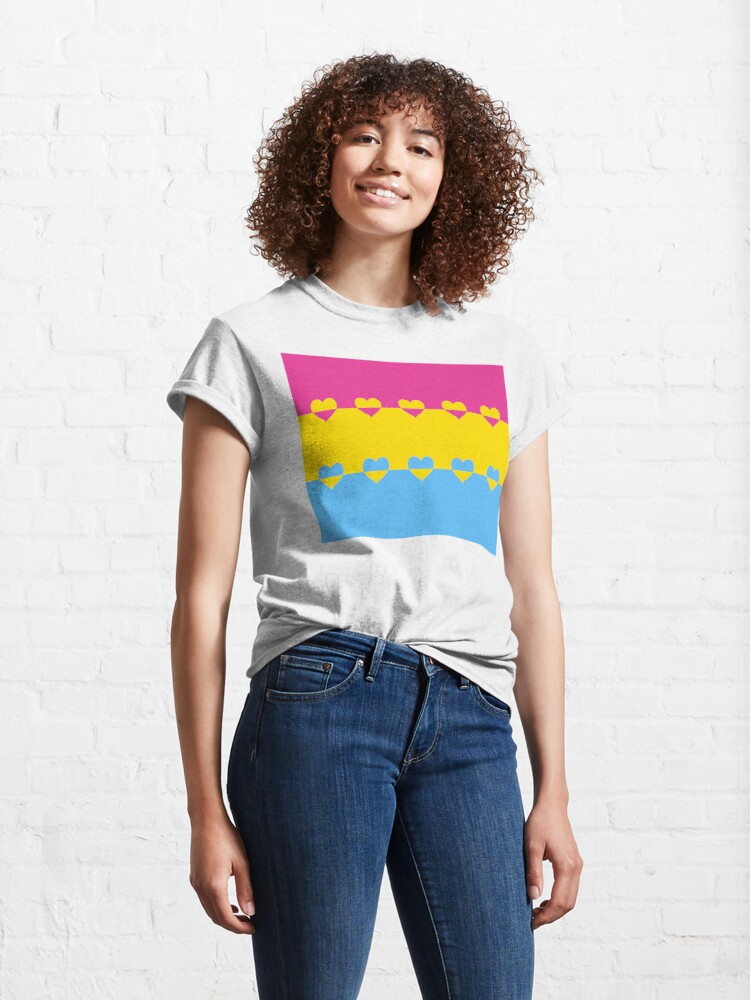 Alternate view of LGBTQ Flag with Hearts v1 - Pansexual Classic T-Shirt