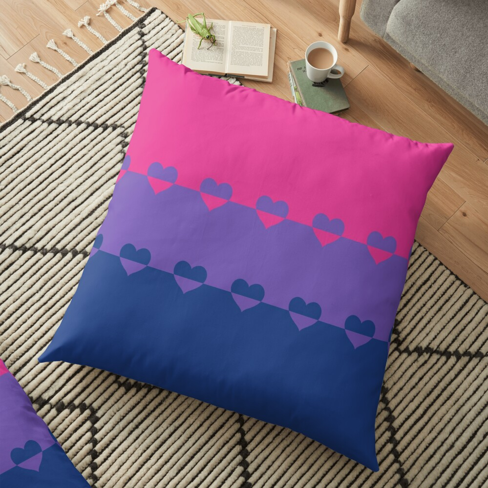 LGBTQ Flag with Hearts v1 - Bisexual Floor Pillow