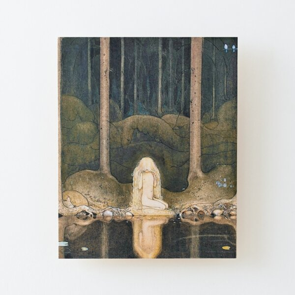 Tuvstarr is Still Sitting There Wistfully Looking into the Water by John Bauer Wood Mounted Print